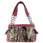 HOT PINK CROSS MOSSY CAMO LEATHERETTE SHOULDER HANDBAG HB1-CHF0019HPK