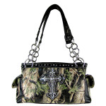 BLACK CROSS MOSSY CAMO LEATHERETTE SHOULDER HANDBAG HB1-CHF0019BLK