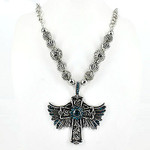 TURQUOISE CROSS W/ WINGS LARGE PENDANT NECKLACE LOOK NK1-0448TRQ