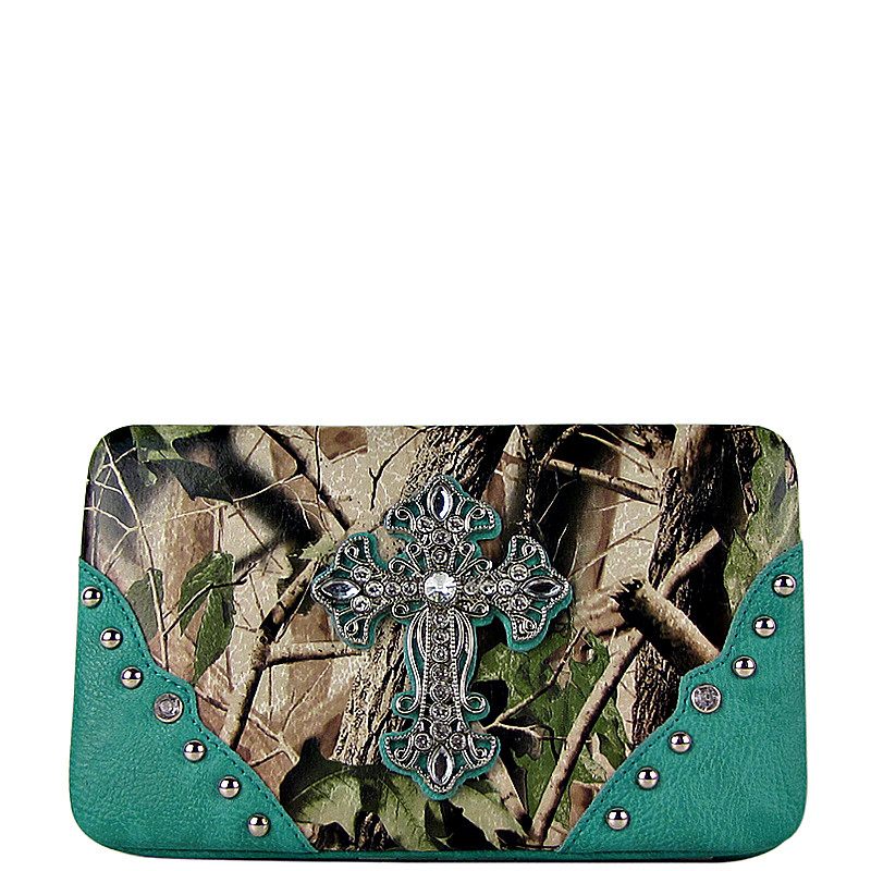 TURQUOISE MOSSY CAMO CROSS LOOK FLAT THICK WALLET FW2-0481TRQ