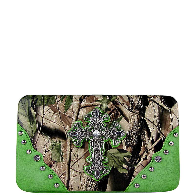 GREEN MOSSY CAMO CROSS LOOK FLAT THICK WALLET FW2-0481GRN