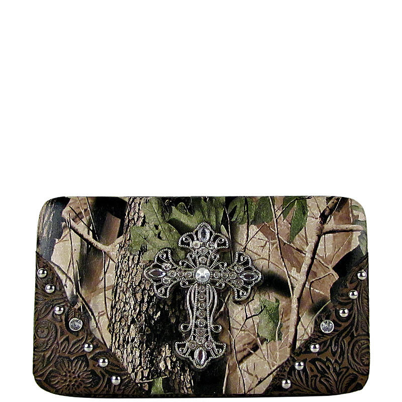 BROWN MOSSY CAMO CROSS LOOK FLAT THICK WALLET FW2-0481BRN