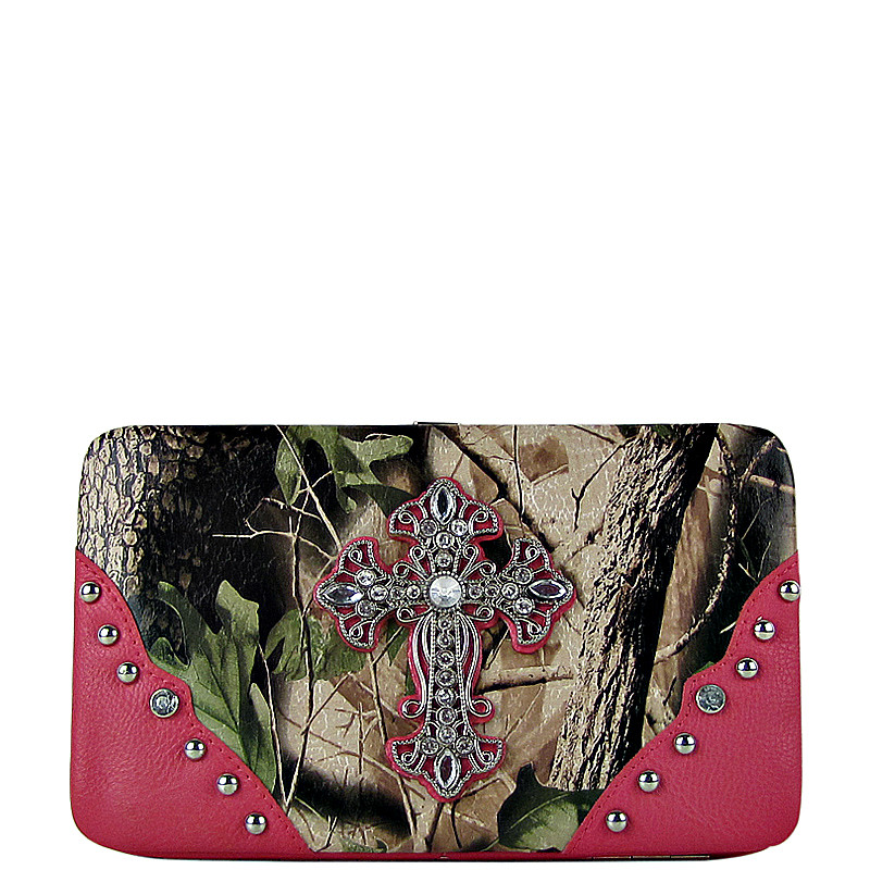 HOT PINK MOSSY CAMO CROSS LOOK FLAT THICK WALLET FW2-0481HPK