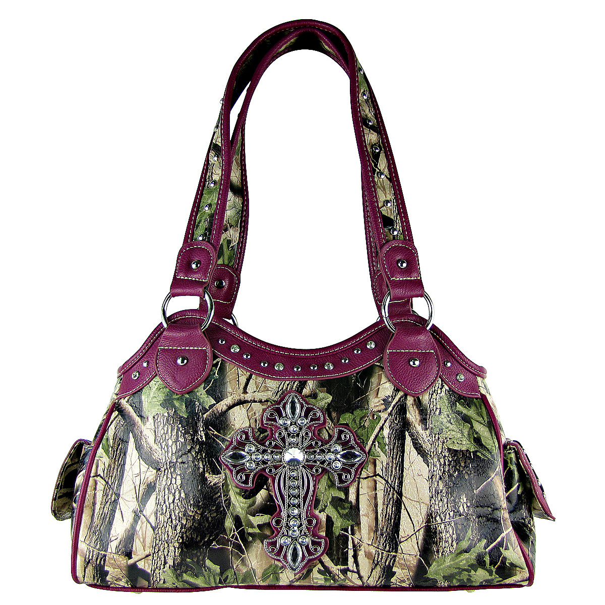 PURPLE MOSSY CAMO CROSS LOOK SHOULDER HANDBAG HB1-CHF0036PPL