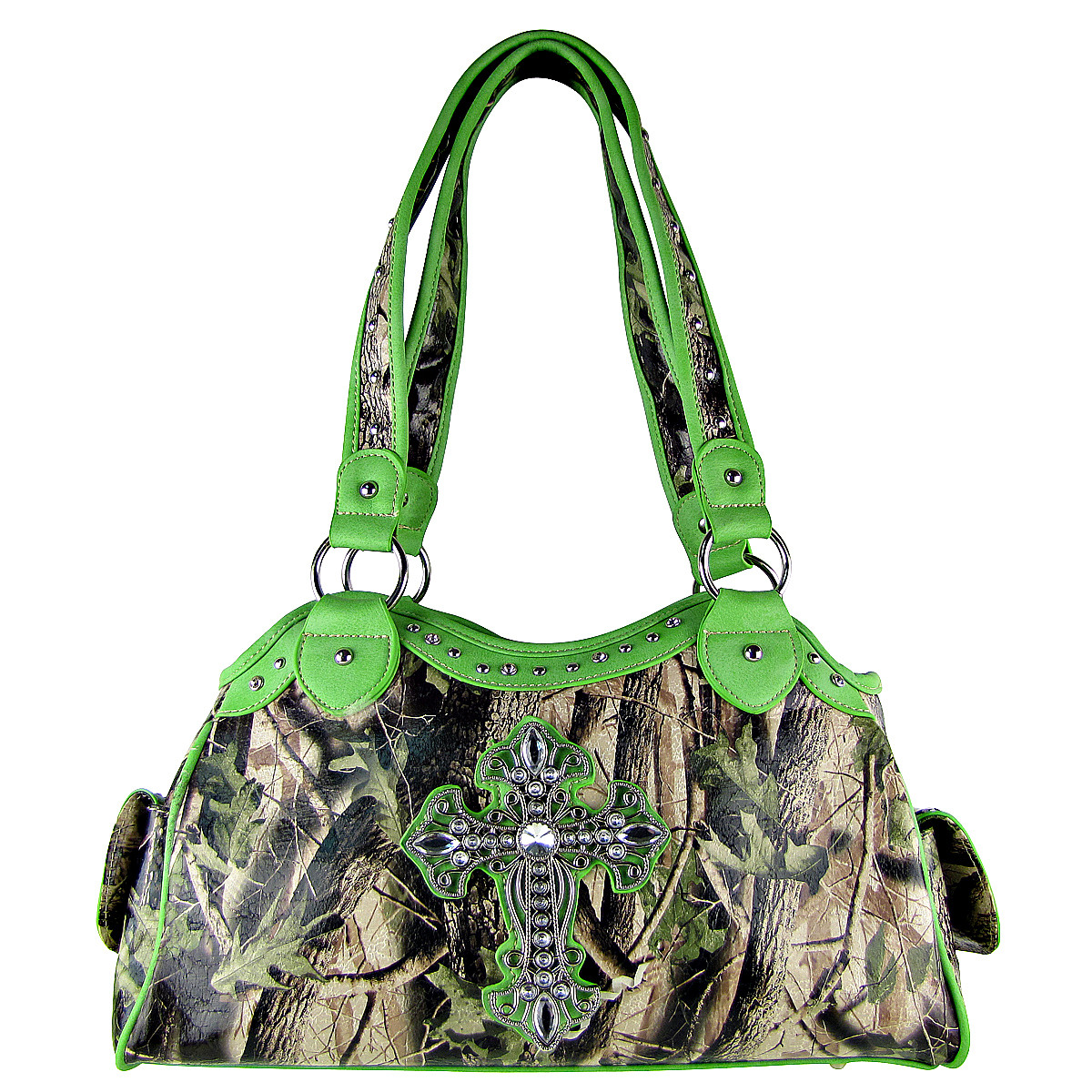 GREEN MOSSY CAMO CROSS LOOK SHOULDER HANDBAG HB1-CHF0036GRN