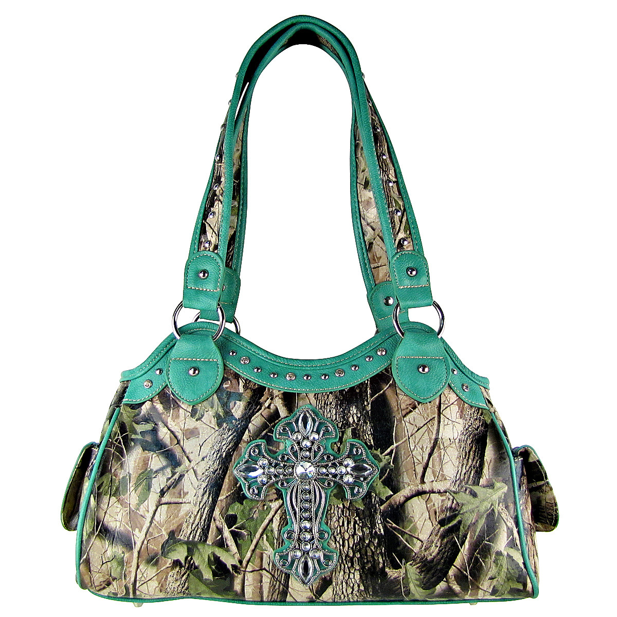 TURQUOISE MOSSY CAMO CROSS LOOK SHOULDER HANDBAG HB1-CHF0036TRQ