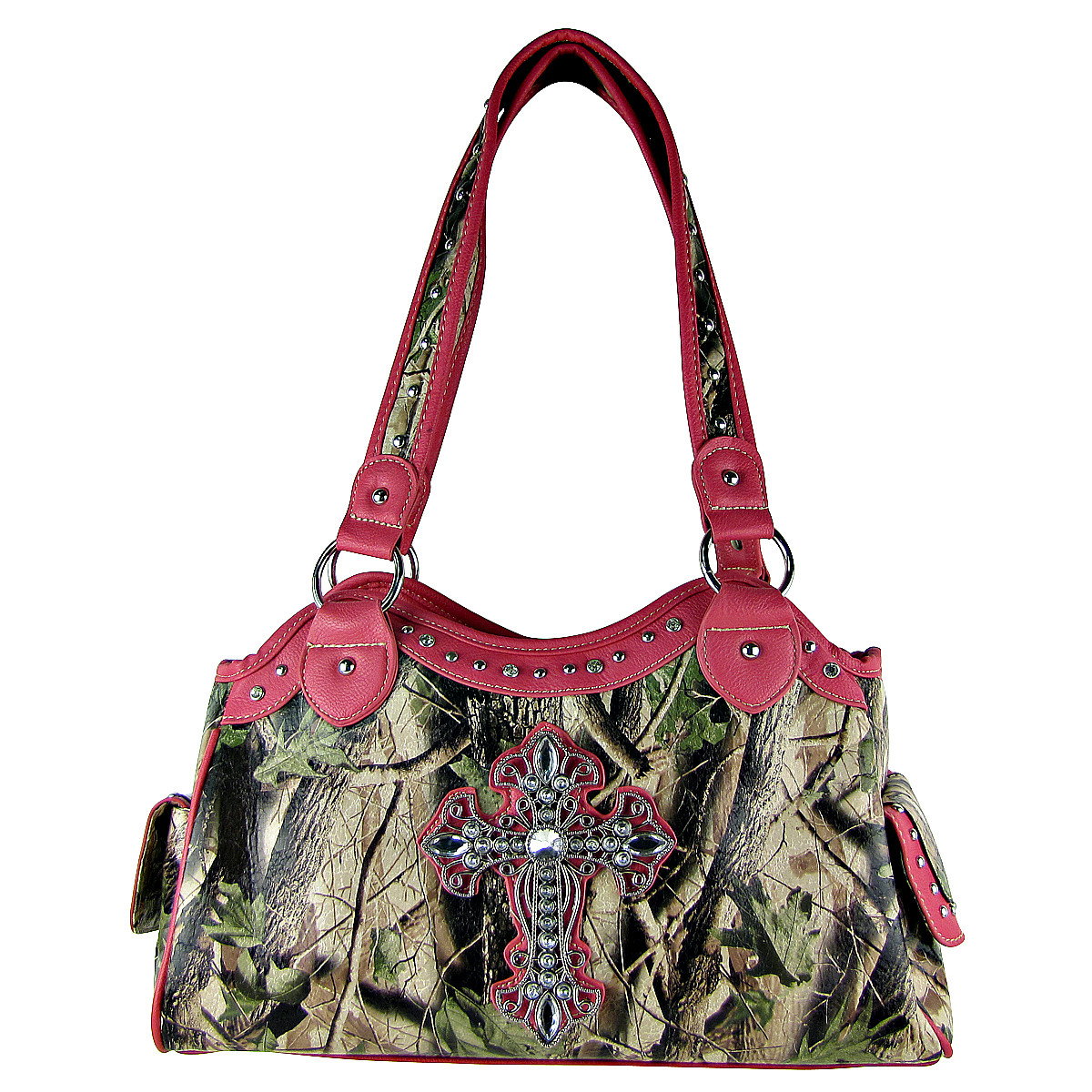 HOT PINK MOSSY CAMO CROSS LOOK SHOULDER HANDBAG HB1-CHF0036HPK