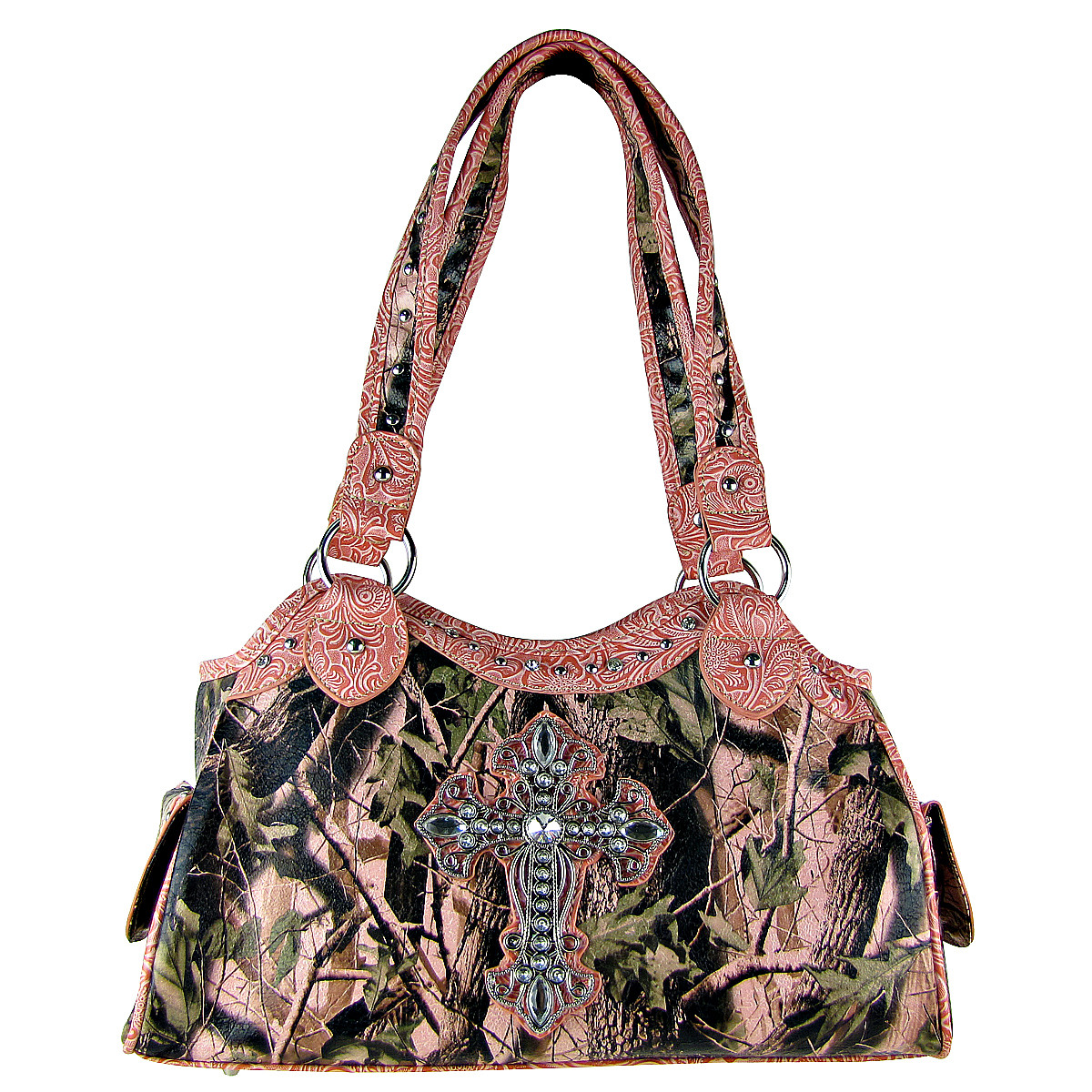 LIGHT PINK MOSSY CAMO CROSS LOOK SHOULDER HANDBAG HB1-CHF0036LPK