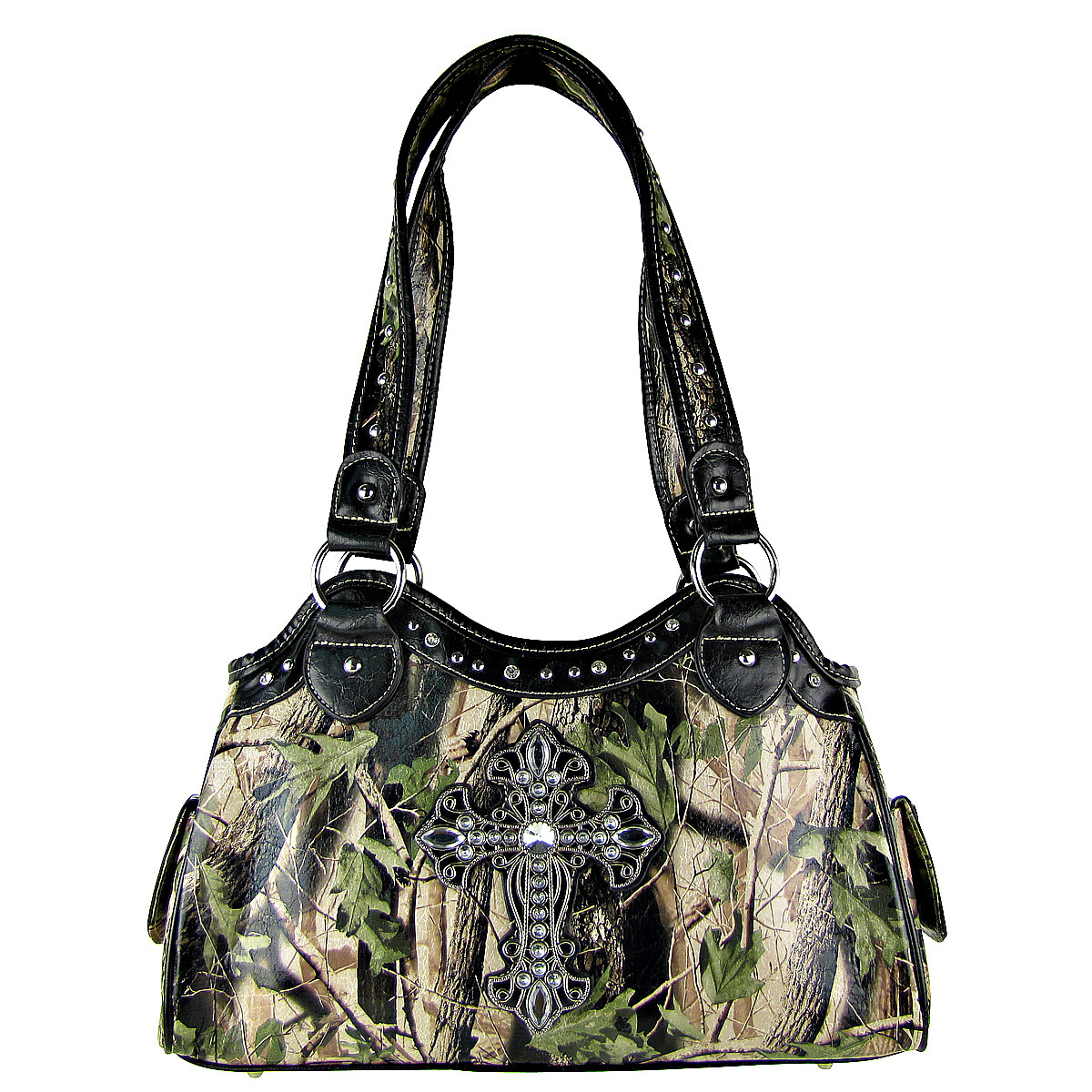 BLACK MOSSY CAMO CROSS LOOK SHOULDER HANDBAG HB1-CHF0036BLK