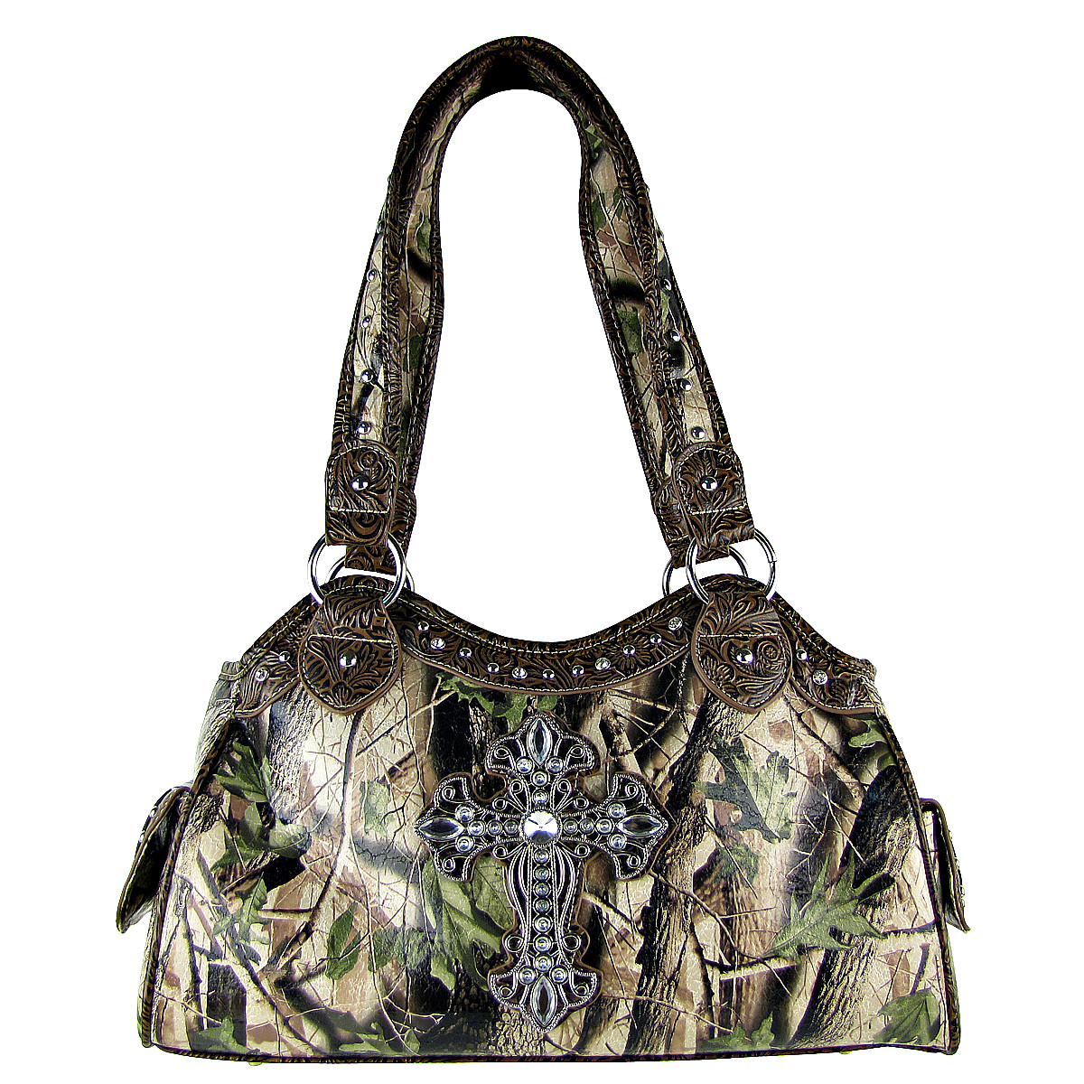BROWN MOSSY CAMO CROSS LOOK SHOULDER HANDBAG HB1-CHF0036BRN
