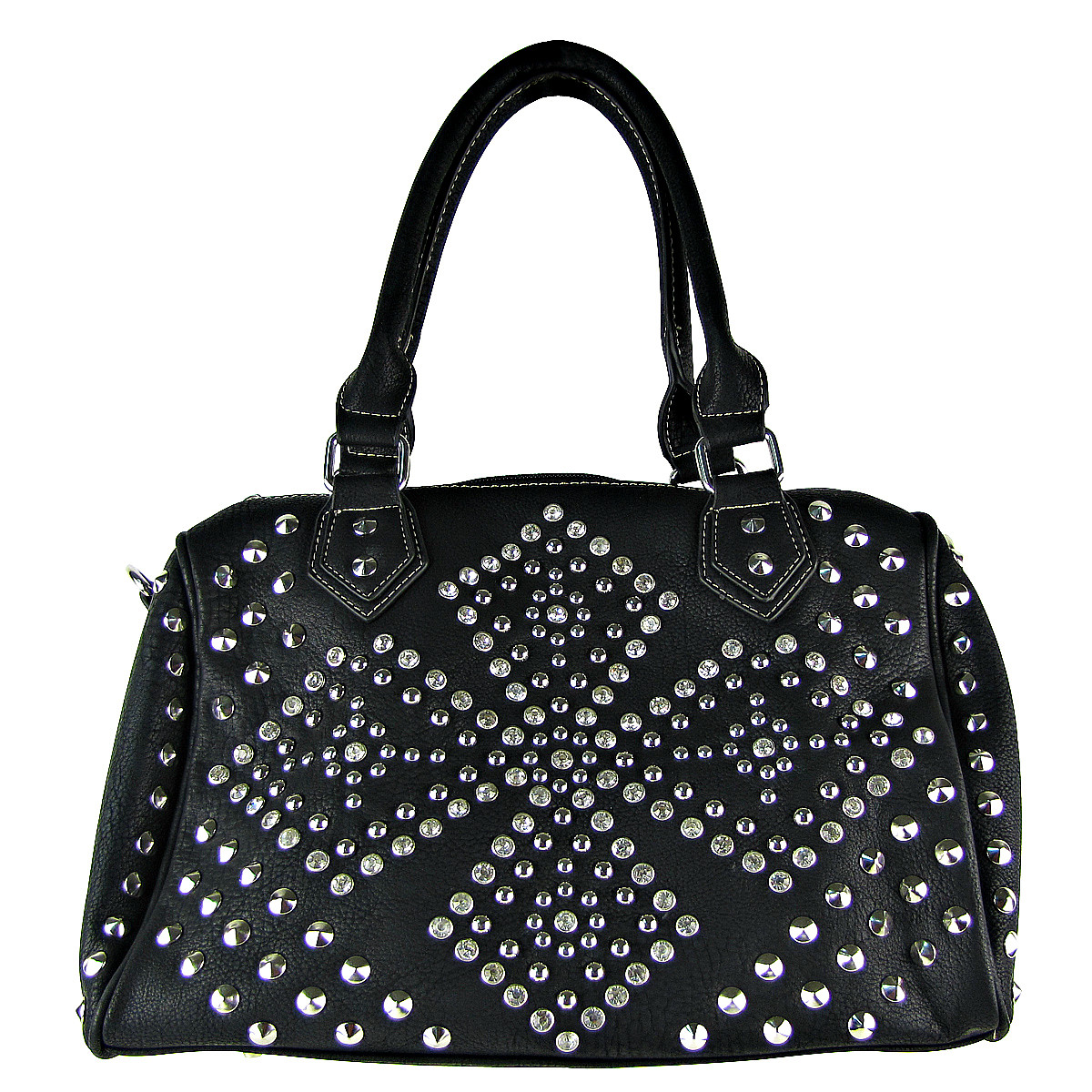 BLACK RHINESTONE STUDDED LEATHERETTE LOOK SHOULDER HANDBAG HB1-HC0039BLK