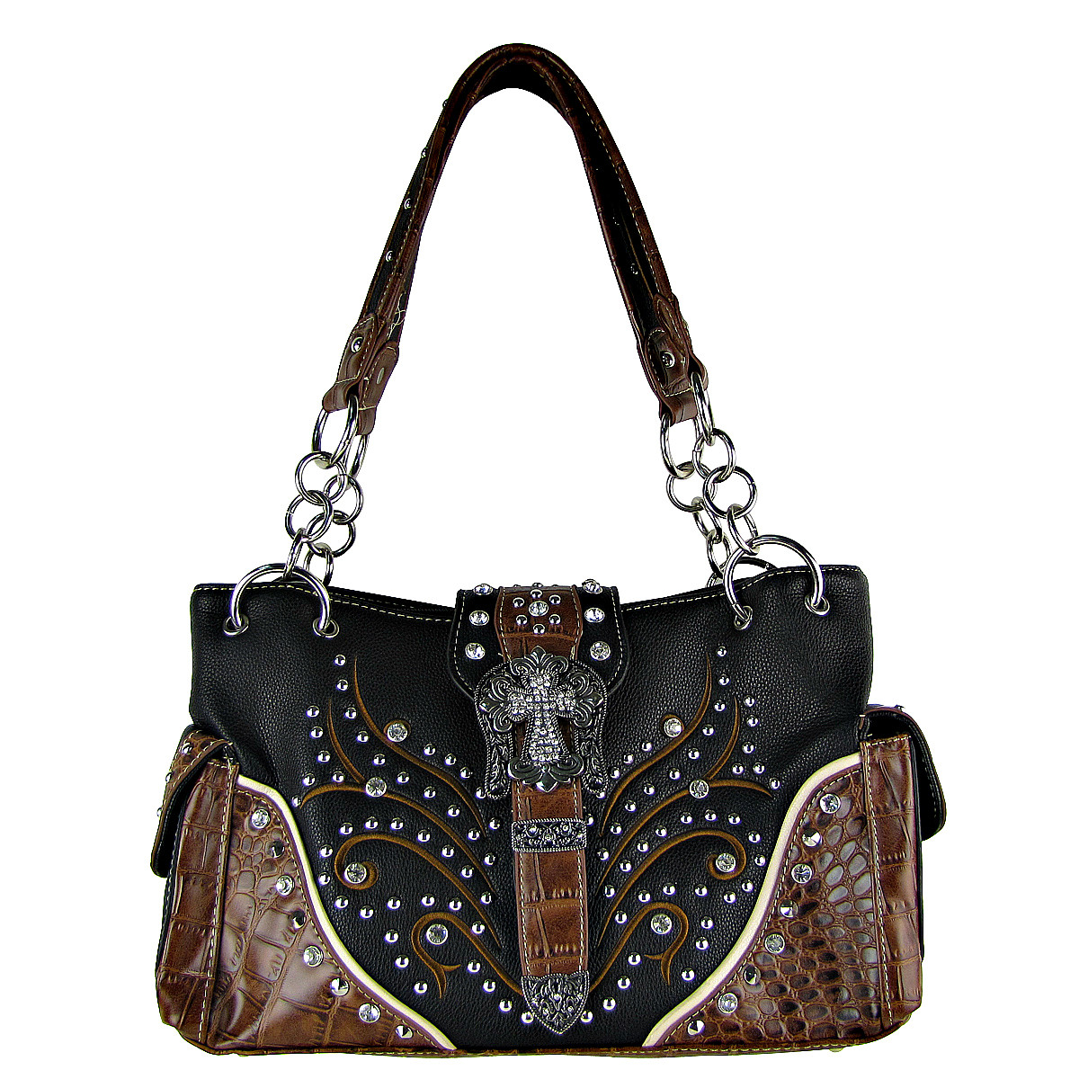 BLACK STUDDED RHINESTONE CROSS BUCKLE LOOK SHOULDER HANDBAG HB1-HL12174-1BLK