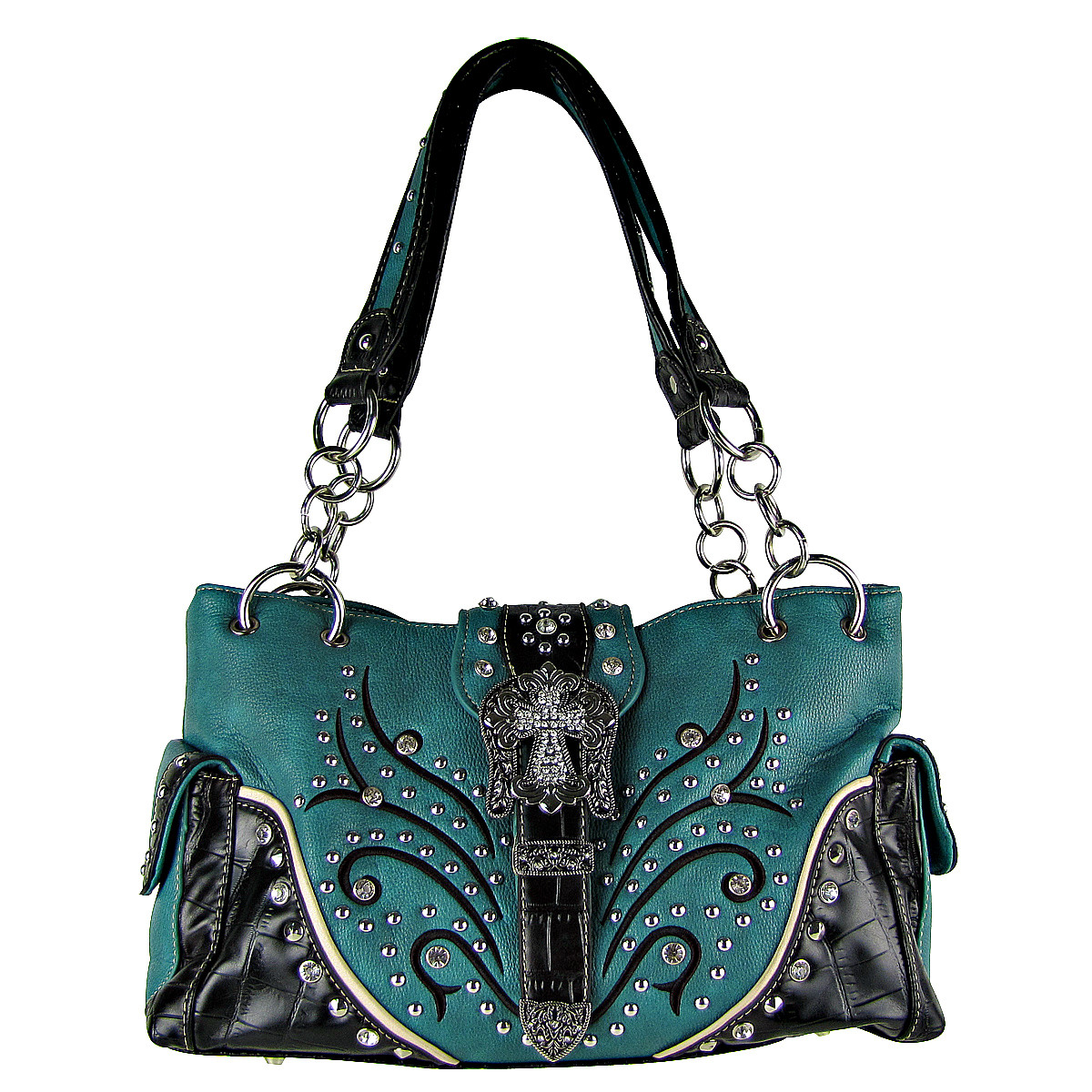 TURQUOISE STUDDED RHINESTONE CROSS BUCKLE LOOK SHOULDER HANDBAG HB1-HL12174-1TRQ