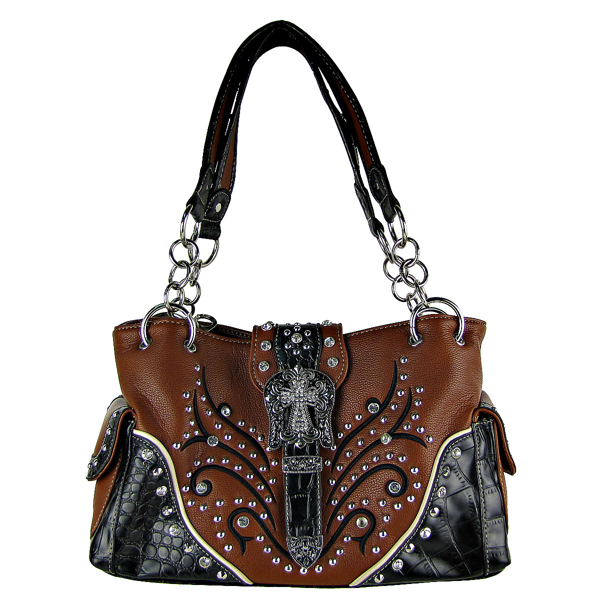 BROWN STUDDED RHINESTONE CROSS BUCKLE LOOK SHOULDER HANDBAG HB1-HL12174-1BRN