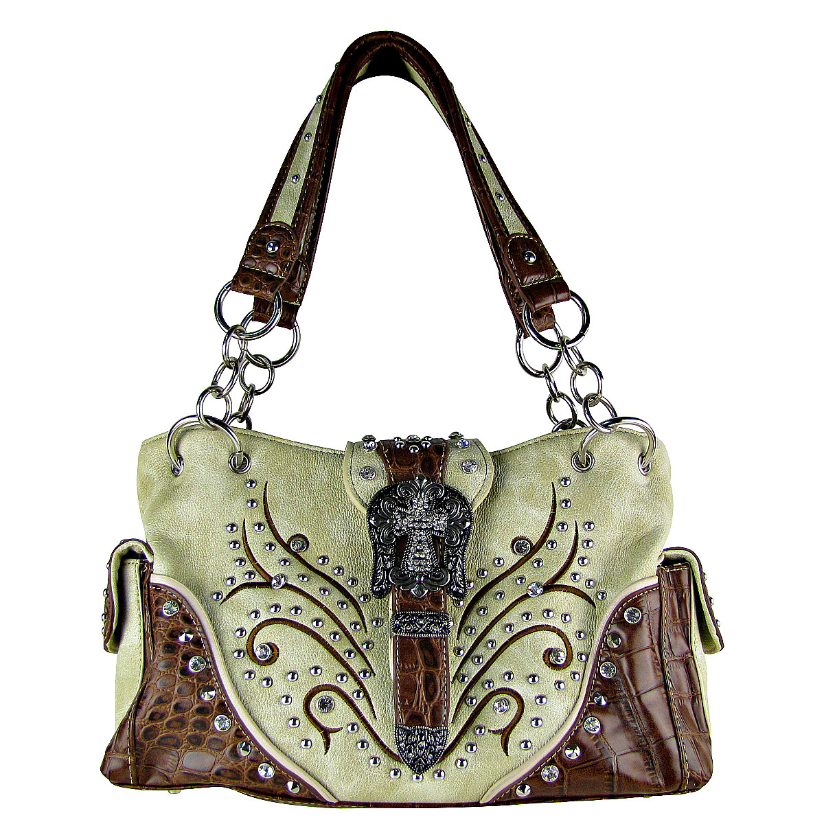 BEIGE STUDDED RHINESTONE CROSS BUCKLE LOOK SHOULDER HANDBAG HB1-HL12174-1BEI