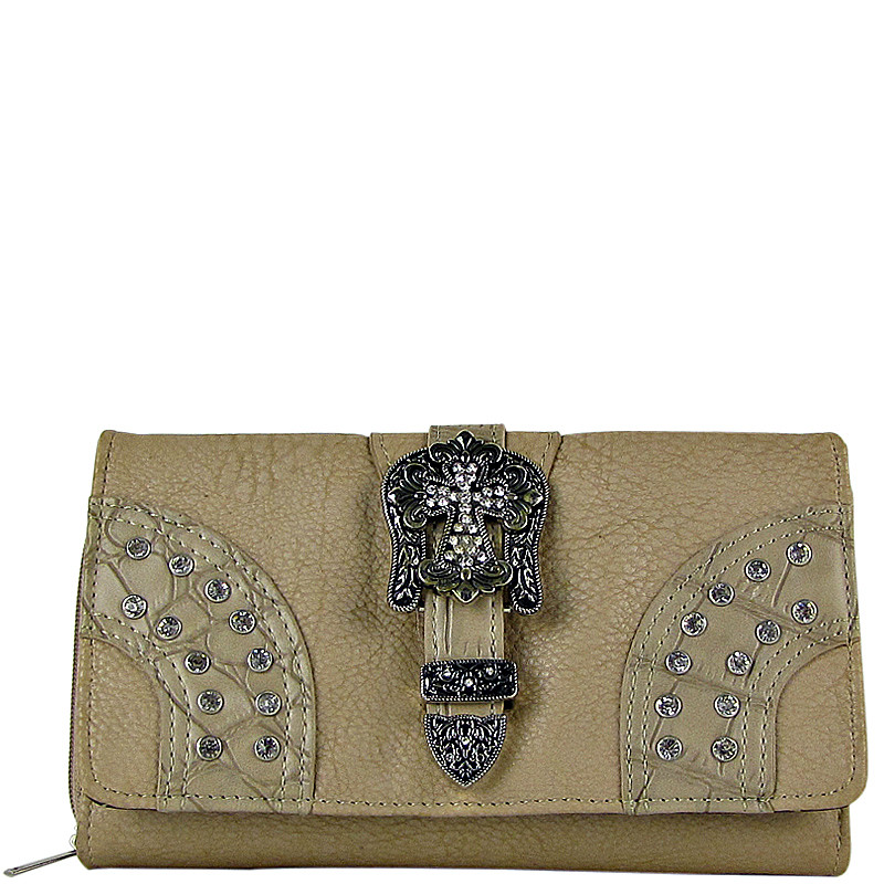 BEIGE STUDDED RHINESTONE CROSS BUCKLE LOOK CHECKBOOK WALLET CB1-0416BEI