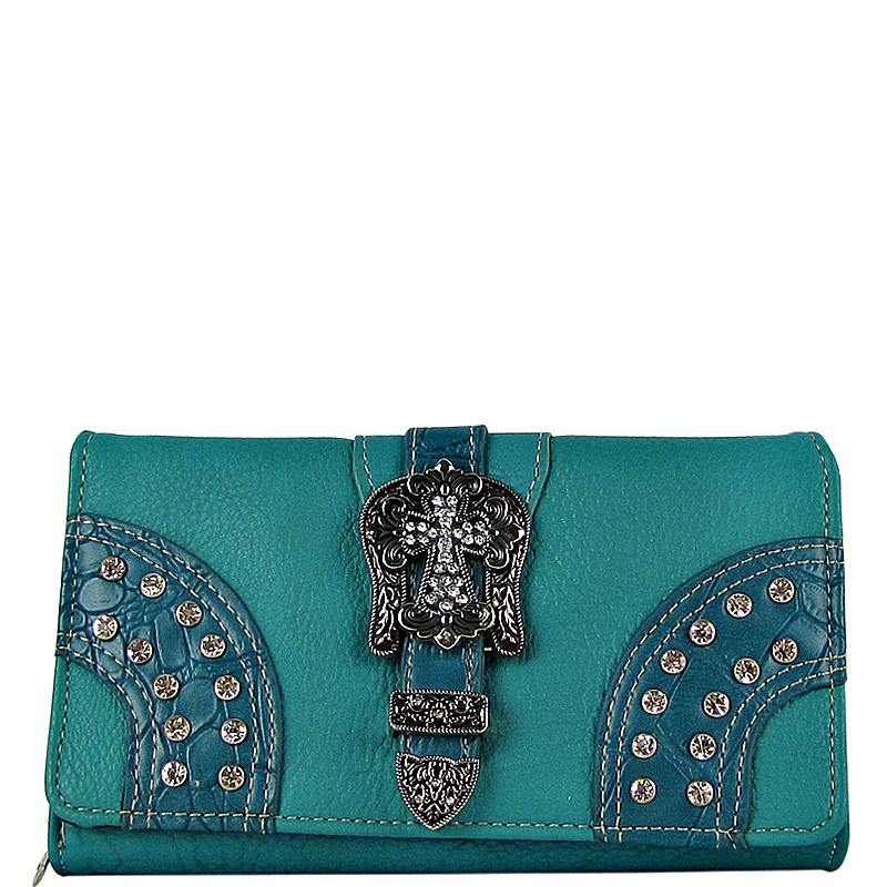 TURQUOISE STUDDED RHINESTONE CROSS BUCKLE LOOK CHECKBOOK WALLET CB1-0416TRQ