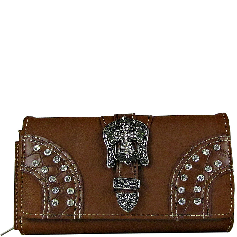 BROWN STUDDED RHINESTONE CROSS BUCKLE LOOK CHECKBOOK WALLET CB1-0416BRN