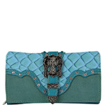 TURQUOISE STUDDED CROC RHINESTONE CROSS BUCKLE LOOK CHECKBOOK WALLET CB1-0417TRQ