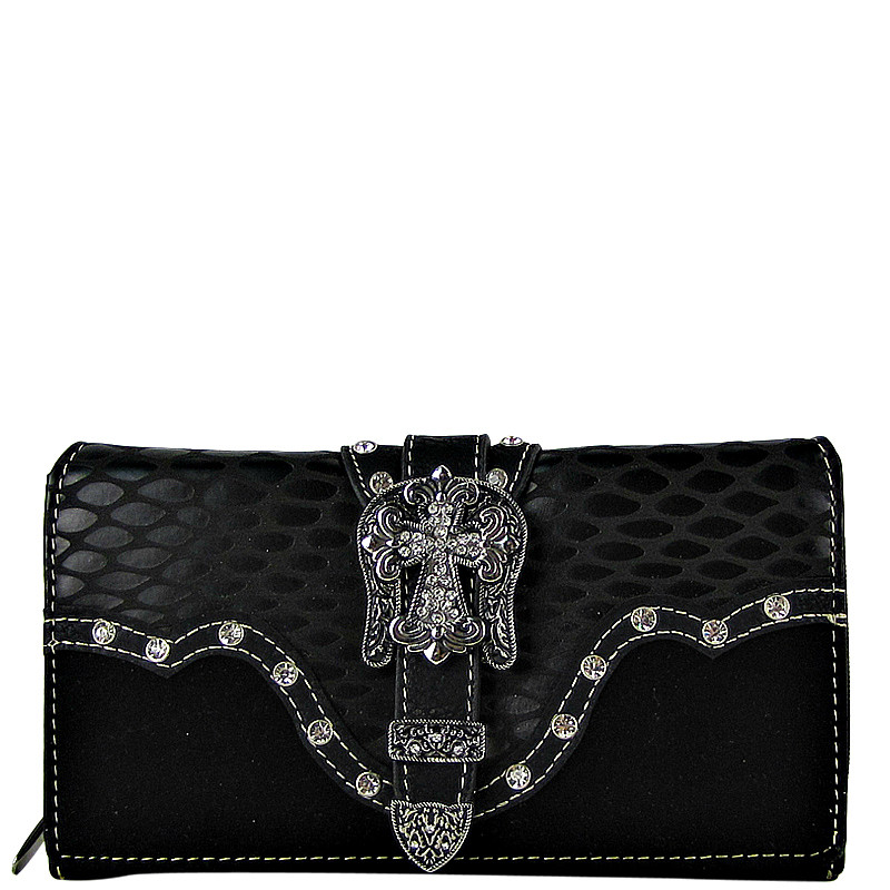 BLACK STUDDED CROC RHINESTONE CROSS BUCKLE LOOK CHECKBOOK WALLET CB1-0417BLK