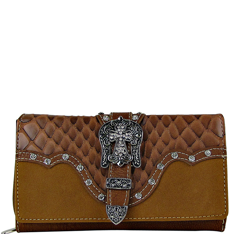 BROWN STUDDED CROC RHINESTONE CROSS BUCKLE LOOK CHECKBOOK WALLET CB1-0417BRN