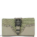 BEIGE STUDDED CROC RHINESTONE CROSS BUCKLE LOOK CHECKBOOK WALLET CB1-0417BEI