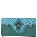 TURQUOISE STUDDED CROC RHINESTONE CROSS LOOK CHECKBOOK WALLET CB1-0418TRQ