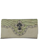 BEIGE STUDDED CROC RHINESTONE CROSS LOOK CHECKBOOK WALLET CB1-0418BEI