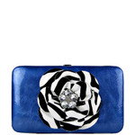 BLUE RHINESTONE ZEBRA FLOWER LOOK THICK FLAT WALLET FW2-0755BLU