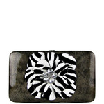 GRAY RHINESTONE ZEBRA FLOWER LOOK THICK FLAT WALLET FW2-0755GRY