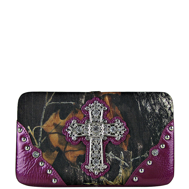 PURPLE CROSS MOSSY CAMO LOOK FLAT THICK WALLET FW2-0421PPL