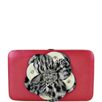 HOT PINK LEOPARD FLOWER DISTRESSED LOOK FLAT THICK WALLET FW2-0750HPK