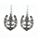 AB FLEUR DE LIS HORSESHOE DESIGN PENDANT LOOK EARRINGS ER1-1211AB