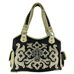 BEIGE WESTERN STUDDED DESIGN CROSS SHOULDER HANDBAG HB1-L1069-1BEI