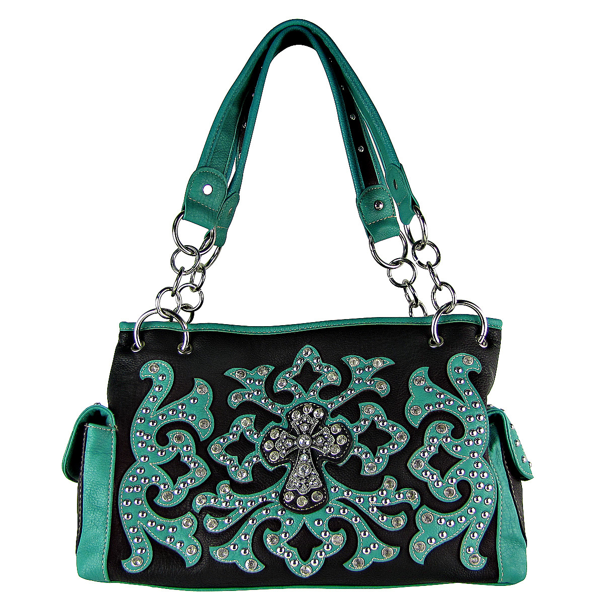 TURQUOISE WESTERN STUDDED DESIGN CROSS LOOK SHOULDER HANDBAG HB1-HC0036TRQ
