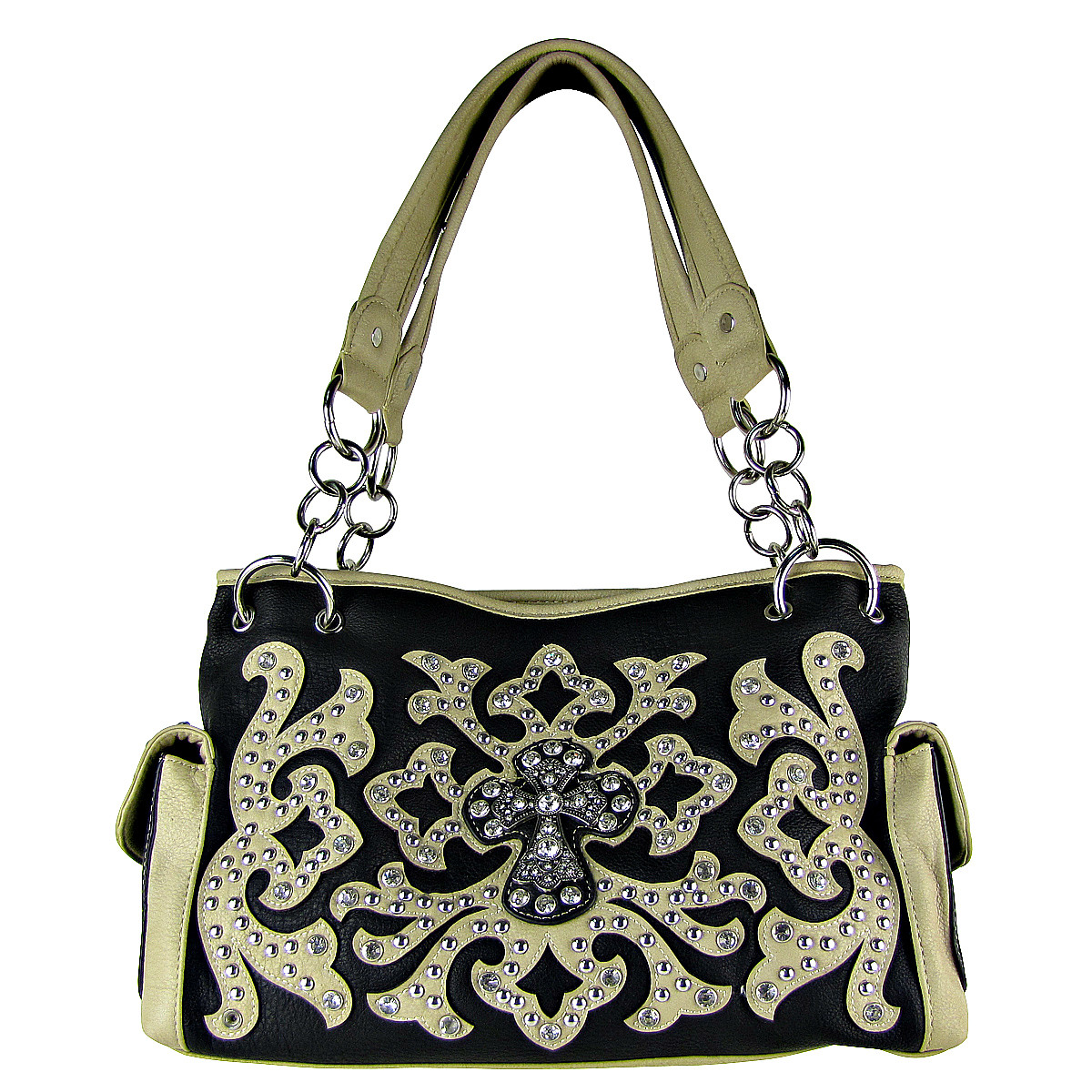 BEIGE WESTERN STUDDED DESIGN CROSS LOOK SHOULDER HANDBAG HB1-HC0036BEI