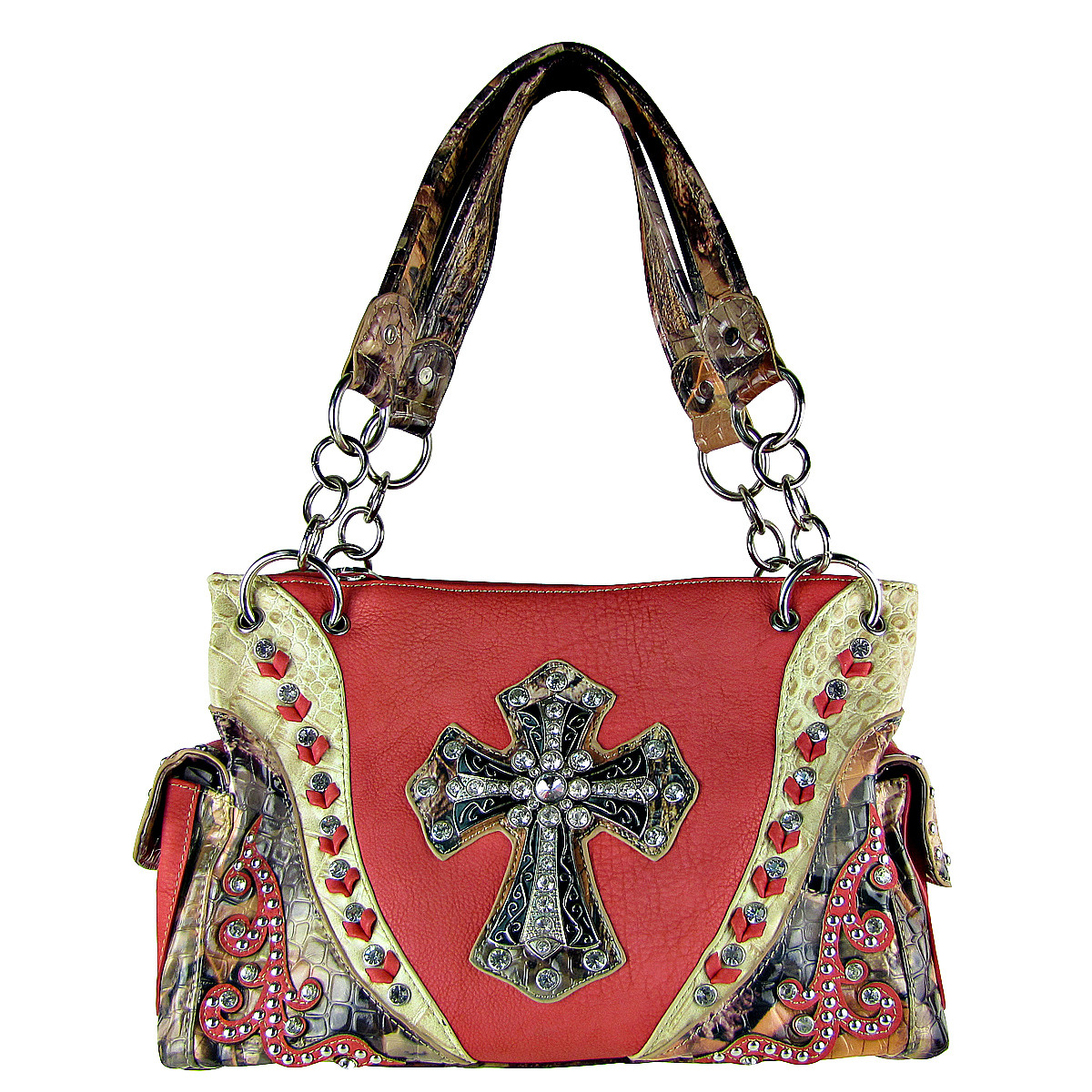 PINK WESTERN STUDDED MOSSY CAMO CROSS LOOK SHOULDER HANDBAG HB1-HC0037PNK