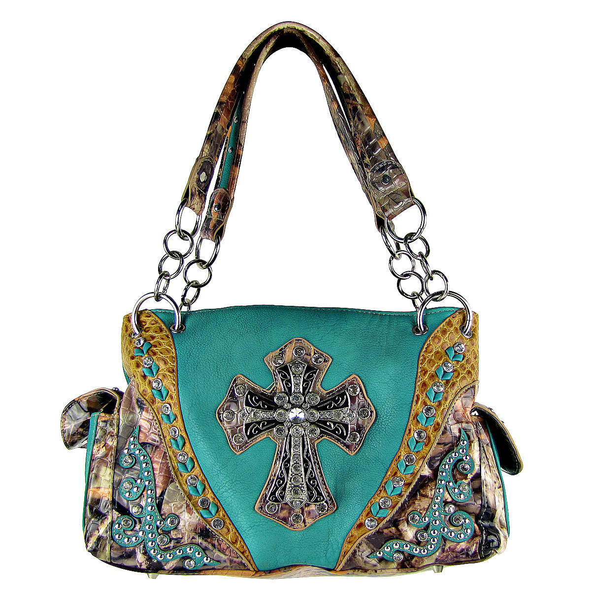 TURQUOISE WESTERN STUDDED MOSSY CAMO CROSS LOOK SHOULDER HANDBAG HB1-HC0037TRQ