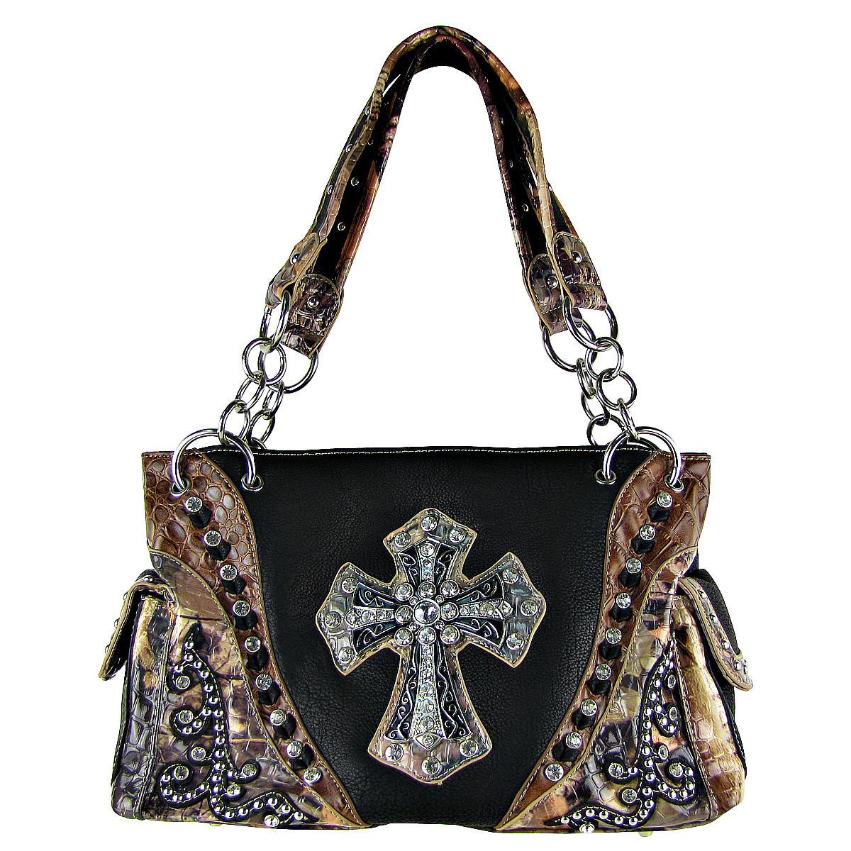BLACK WESTERN STUDDED MOSSY CAMO CROSS LOOK SHOULDER HANDBAG HB1-HC0037BLK