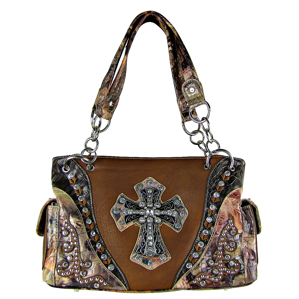 BROWN WESTERN STUDDED MOSSY CAMO CROSS LOOK SHOULDER HANDBAG HB1-HC0037BRN