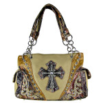 BEIGE WESTERN STUDDED MOSSY CAMO CROSS LOOK SHOULDER HANDBAG HB1-HC0037BEI