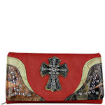 CORAL WESTERN STUDDED MOSSY CAMO CROSS LOOK CHECKBOOK WALLET CB1-0421CRL