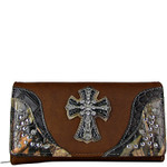 BROWN WESTERN STUDDED MOSSY CAMO CROSS LOOK CHECKBOOK WALLET CB1-0421BRN