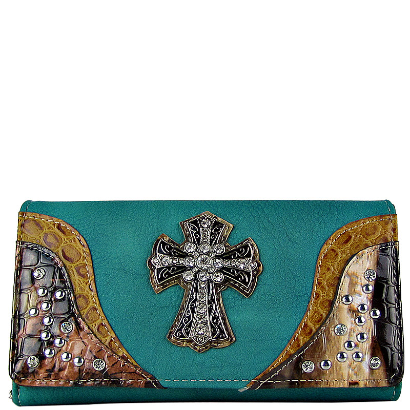TURQUOISE WESTERN STUDDED MOSSY CAMO CROSS LOOK CHECKBOOK WALLET CB1-0421TRQ