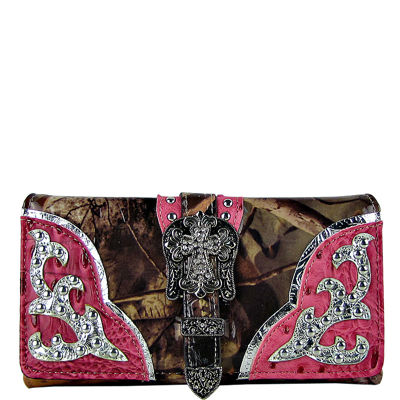 PINK MOSSY CAMO OSTRICH STUDDED RHINESTONE CROSS BUCKLE LOOK CHECKBOOK WALLET