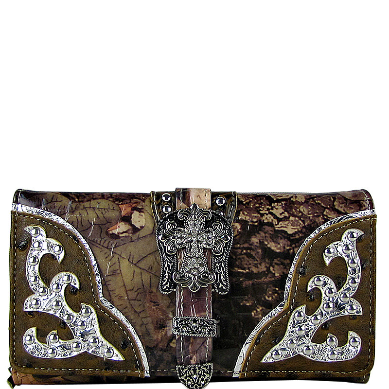 BROWN MOSSY CAMO OSTRICH STUDDED RHINESTONE CROSS BUCKLE LOOK CHECKBOOK WALLET CB1-0420BRN