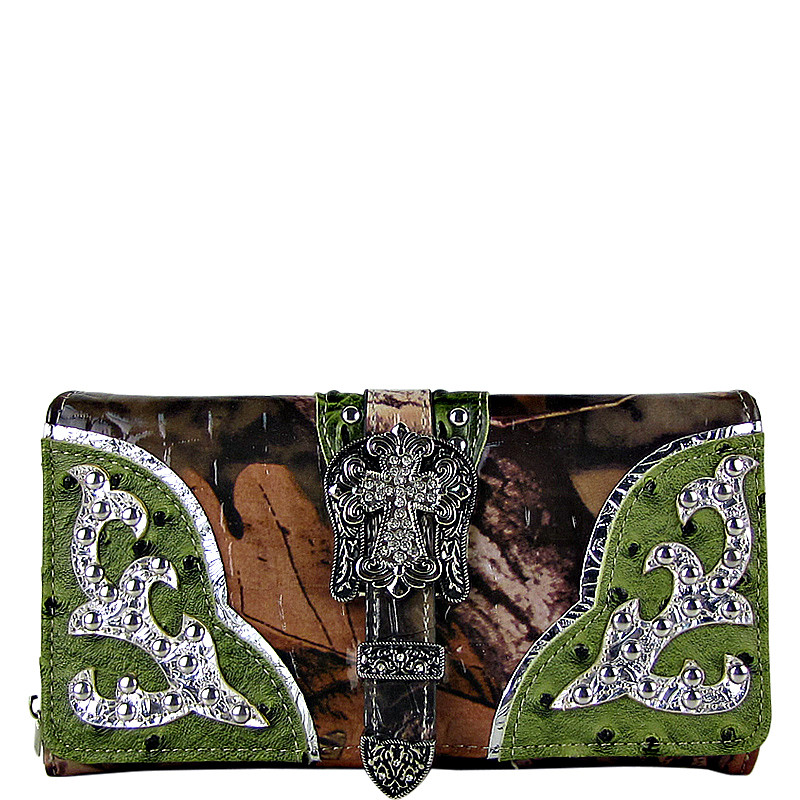 GREEN MOSSY CAMO OSTRICH STUDDED RHINESTONE CROSS BUCKLE LOOK CHECKBOOK WALLET CB1-0420GRN