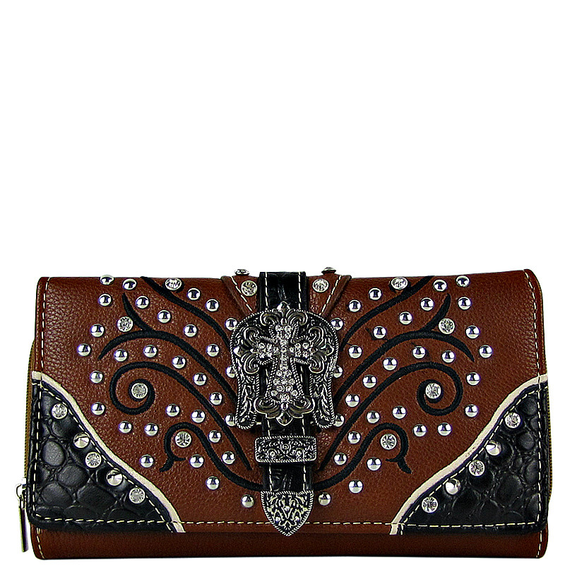 BROWN STUDDED RHINESTONE CROSS BUCKLE LOOK CHECKBOOK WALLET CB1-0419BRN
