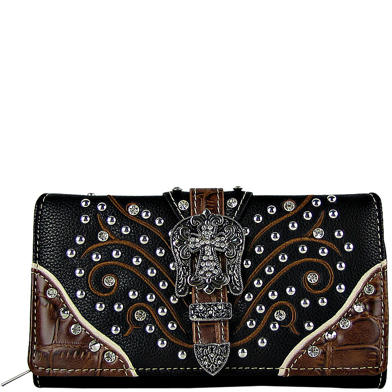 BLACK STUDDED RHINESTONE CROSS BUCKLE LOOK CHECKBOOK WALLET