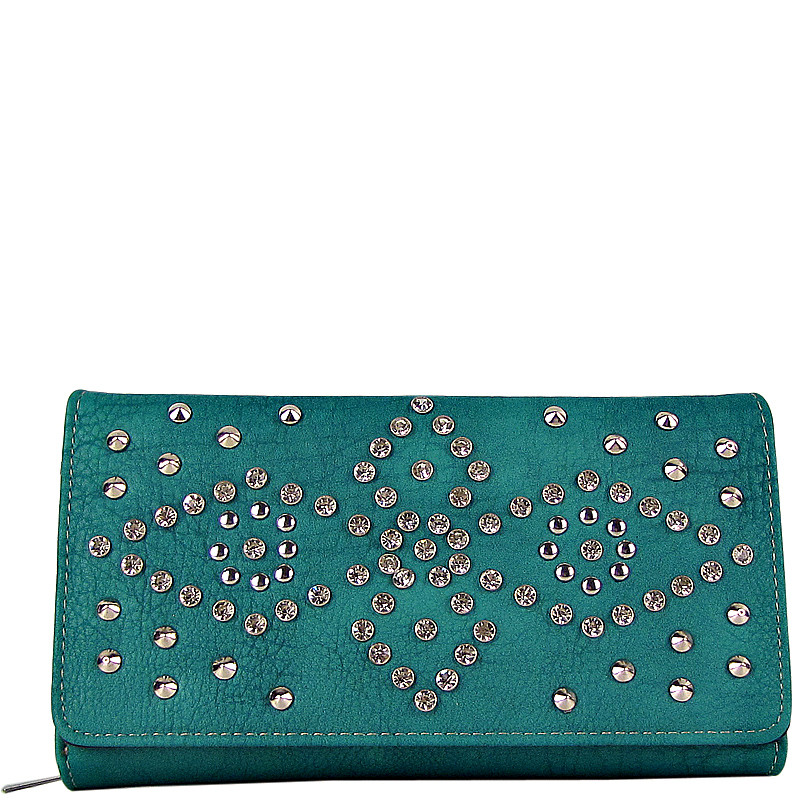TURQUOISE RHINESTONE STUDDED LEATHERETTE LOOK CHECKBOOK WALLET CB1-1272TRQ